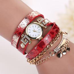 Wholesale long leather watch straps women - Fashion Long Leather leopard print Strap Punk Style Women Bracelet Watch sheetmetal Pendant Retro Casual Quartz Analog dress watches