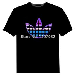 Wholesale Shirt Sound - Wholesale-Hotsale Sound Activated Light Up Flashing Rock Disco Equalizer EL LED T-Shirt Cotton Hip Hop Street Men T Shirt