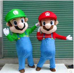 Wholesale Mario Luigi Mascot Costumes - New High Quality Super Mario& Luigi 2 Mascot Costume Fancy Dress Cartoon Suit Adult Size gift