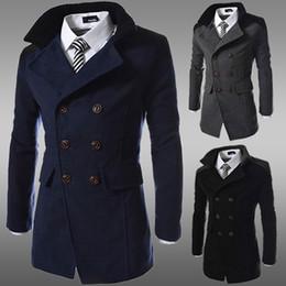 Wholesale Mens Long Casual Wool Overcoats - Men Jacket Coat Slim Fit Men Casual Trench Coat Mens Winter Coats Mens Man Wool UK Style Outwear Overcoat