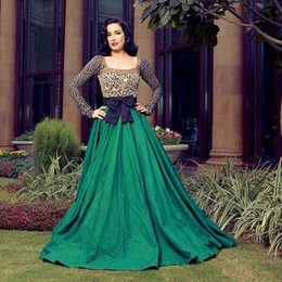 Wholesale Aline Gowns - 2018 Lace Gold Mother Evening Dresses With Long Sleeves Square Collar Aline Floor Length Taffeta Green Evening Gowns