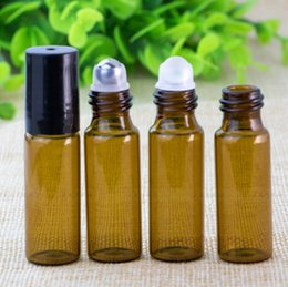 Wholesale Fragrance Oil Bottles Wholesale - Refillable Amber 1ml 2ml 3ml 5ml 10ml ROLL ON fragrance PERFUME GLASS BOTTLES ESSENTIAL OIL Bottle Steel Metal Roller ball Free Shipping