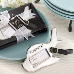 Wholesale Wholesale Luggage Tags - Wholesale- 25pcs lot Wedding Favors Airplane Luggage Tag Brith Shower Favors Luggage Tags
