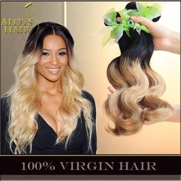 Wholesale 1b 27 Human Hair Weave - 4Pcs Ombre Brazilian Body Wave Virgin Human Hair Weave Bundles 2 Two Tone 1B 27# Honey Blonde Ombre Brazilian Human Hair Extensions