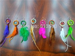 Wholesale Mixed Feather Earring - Dream Catcher earring Feather Earrings Native American Style 12pairs lot In Mixed Colors Various Colors