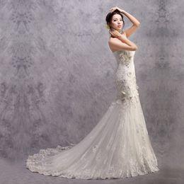 Wholesale Sexy Hip Tube - 2015 wedding formal dress tube top fashion big train fish tail slim hip wedding dress sexy slim