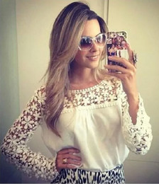 Wholesale Georgette Shirts - Blouse Checkered shirt White Figure Leisureshirt Longsleeve Hollow out lace Women tops Georgette Cutout Sex appeal Pure color Shirt Loose Re