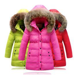 Wholesale Girls Coat Waterproof Down Jacket - 2015 winter new girls thicking down jacket kids Girls long section of real fur collar waterproof down jacket children coat