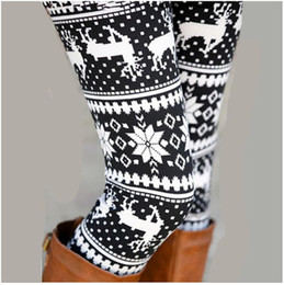 Wholesale knitted snowflake leggings - Xmas Snowflakes Reindeer Print Leggings DHL Free Shipping 13 Colors Knitted Women Stretchy Pants Nordic Thick Warm Bootcut Christmas Gift