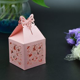 Wholesale Butterfly Shaped Case - 60pcs lot Laser Cut Mini Paper Candy Box Sweetmeat Case Butterfly Shape Packing Wedding Party Sweet Gift Bag Holder wc145