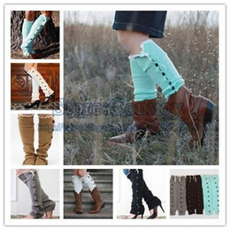 Wholesale Warm Thigh High Stockings - Fashion Womens Leg Warmer Womens Legging Winter Boot Thigh Socks Stocking Foot Socks Lace Button Foot Cover Knee High Socks 7 Colours WS01