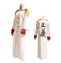 Wholesale Uniform Cloaks - One Piece Kprusoian Sakazuki Navy Marine Justice Uniform Cloak long Coat Unisex Cosplay Costume Kuzan Cos