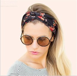 Wholesale Wholesale Bandanas Sports - Newest Womens Floral Elastic Wide Stretch Summer Beach Bohemian Headbands Sport Yoga Cross Headwraps 9 colors Cotton Bandana Turban WHA64