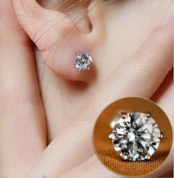 Wholesale Crystal Earrings For Sale - Studs 5MM 925 silver Luxury Crystal Zircon Stud Earrings Anti Allergic Elegant women girls noble jewelry earrings for sale Cheap