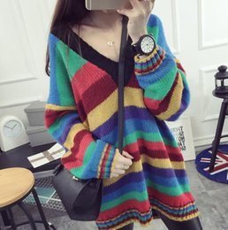 Wholesale Women Batwing Loose Sweaters - Wholesale- Women V-neck Autumn Winter Colorful stripes Sweater Pullover Batwing Long Sleeve Casual Loose Solid Blouse Shirt Top Plus Size
