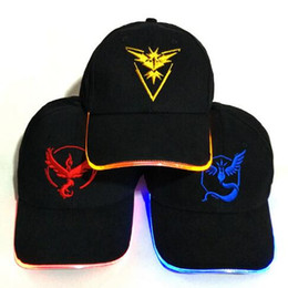 Wholesale Wholesale Lighted Baseball Caps - 3 Colors Adult Poke Go LED Light Baseball Cap Team Snapback Adjustable Hats Pikachu LED Poke Ball Hip Hop Pokeball Hats CCA8160 50pcs
