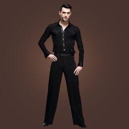 Wholesale Latin Pants - Man's Modern Design Dancewear Long Sleeves Black Slims Shirt Pants Latin Cha-cha Rumba Tango Dancing Costumes tl801