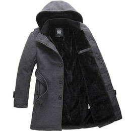 Wholesale Plus Size Long Pea Coat - Fall-S-4XL new winter men's plus size single breasted long hooded cashmere fashion thick British style Wool coat male pea coats