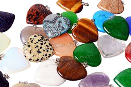 Wholesale Gemstone Charm Beads - Wholesale Lots Jewelry Heart Natural gemstone Stone mixed Pendants Loose Beads Fit Bracelets and Necklace Charms DIY #Bead0149
