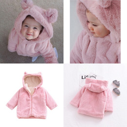 rosa faux pelz mantel mädchen Rabatt Baby Mädchen Herbst Winter Kleidung Kinder Faux Pelzmantel Rosa Solide Dicke Warme Cartoon Bunny Ohr Mit Kapuze Outwear