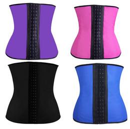 Wholesale Womens Hot Pink Tops - Hot Womens Latex Sport Corset Rubber Latex Waist Training Cincher Lady Bodysuit Shapewear Steel Boned Corslets S-3XL