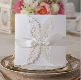 Wholesale Lace For Invitations Wholesale - White Lace Hollow Wedding Invitations Bow Flowers Laser Cut Birthday Invitations Card For Wedding Free Printing CW713