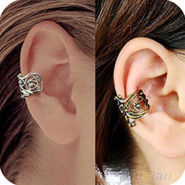 Wholesale Engraving Ladie Ear Cuff - New Fashion Punk Hollow out Engraving Ladie Ear Cuff Clip Earrings 2 Colors Hot Sale 1OL8