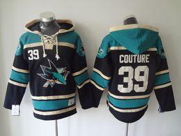 couture jacke Rabatt Top Qualität ! 100% genähte San Jose Sharks Old Time Hockey Trikots 39 Logan Couture Hockey Hoodie Sweatshirts Winterjacke