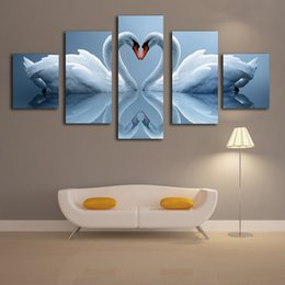 Wholesale Large Canvases Artwork For Walls - 5 Panels Elegant White Swan Canvas Printing Modern Large Artwork for Home Living Room Wall Decor