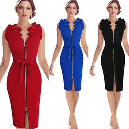 Wholesale Short Ruched - Womens Summer Bodice Dresses 2016 Summer Ruffle Neck Belted Bow Zipper Front Blue Red Black Short Fitted Dress Pencil Dress OXL831