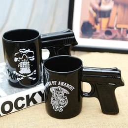 Wholesale Funny Office Mugs - Pistol Grip Coffee Cups Mug Funny Gun Mug Milk Tea Cup Creative Office Ceramic Coffee Mug Drinkware XL-315