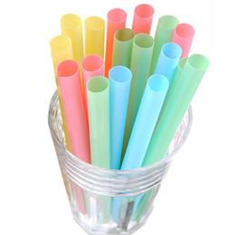 Wholesale Bubble Tea Cups - 100pcs lot 10mm Colorful Milk Tea Drink Straws Plastic Summer Drinking Straws For Bubble Tea Or Smoothies Bar Accessories JK0399