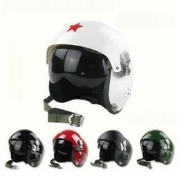 Wholesale White Black Motorcycle Helmet - Chinese Fighter Jet Pilot Flight Helmet Open Face aviation helmets Motorcycle Helmet Black white green color FREE SIZE 55-60cm