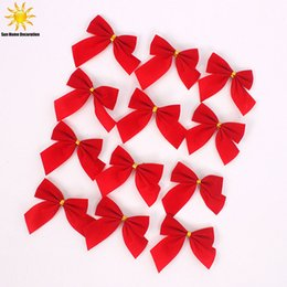 Wholesale Christmas Ornaments For Garden - 12PCS Christmas Tree Bow Decoration Baubles Merry XMAS Party Garden Bows Navidad Ornament For Home