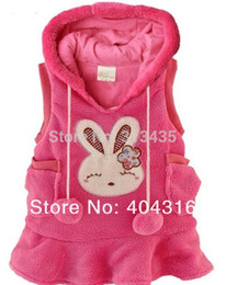 Wholesale Baby Polar Dress - Wholesale-New Baby girl Rabbit Vest Dress bunny Rabbit Fleece warm waistcoat vest polar fleece dress ,(5pcs lot 1colors)