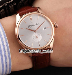 Wholesale Small Mechanical Watch - New Style Brand H.Moser & Cie Venturer Small Seconds 2100-0400 White Dial Automatic Mens Watch Rose Gold Case Leather Strap Gents Watches