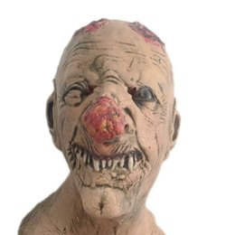 Wholesale zombies props - Horror Zombie Latex Mask Realistic Scary Bloody Head Rubber Masks Full Face Halloween Masqueradde Party Cosplay Props Adult Size