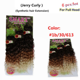 Wholesale Bulk Curly Hair Extensions - New style hair jerry curl bundles synthetic braiding hair extension ombre purple burgundy blond peruvian synthetic hair bulk