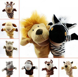 Wholesale Hippo Toys - Animal Hand Puppets Baby Loves Doll 24cm Parent-child Games Toys Novelty Cute Orangutans Monkey Hippo Tiger Puppet 20pcs OOA3557