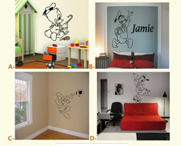 Wholesale Sticker Duck - Donald Duck personalised Kids name Cartoon wall sticker Bedroom Art Decal
