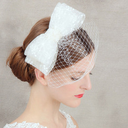 Wholesale Big Bird Cages - 2018 Sexy White Face Veil Simple Layers Tulle Wedding Veil Big Bow Bird Cage Wedding Accessories Bridal Veils For Wedding Dress Bridal Hats