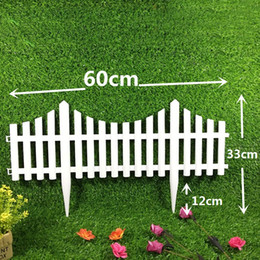 Wholesale White Plastic Fencing - 61*33cm Christmas Fence Plug Plastic Insert Fence White Ground Fence Courtyard Garden Decoration Supplies Free Shipping ZA5398