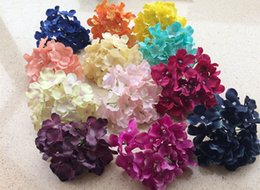 Wholesale Plastic Plums - 10pcs lot Artificial Hydrangea Flower Heads Plastics Flowers Hydrangeas Flower Head for Wedding Party Centerpieces Floral Decor