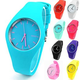 Wholesale Women Silicone Geneva Wrist Watch - Hot Sale Geneva Silicone Watch Analog Unisex Casual Watches Candy Color Men Women Sports wrist watches Dropship