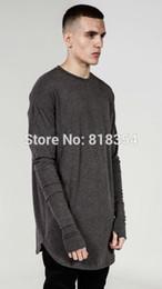 Wholesale Shirts Gloves - 1215 Kanye Trill Thumbhole Fashion Lengthen With Gloves Men Casual T Shirts   Arc Hem Extended Men Basic Tee   Black White Grey S-3XL