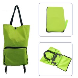 Wholesale Foldable Travel Bags - Wholesale- 1PCS Shopping Trolley Bag With Wheels Portable Foldable Shopping Bag Luggage Bag Packet Drag Collapsible Travel