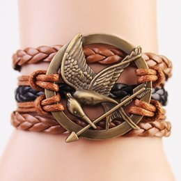 Wholesale Cheap Hunger Games - Vintage Fashion Hunger Games Bird And Arrow Leather Charm Bracelet Hand Made Hot Sale Women Or Men Hand Charm Bracelets Cheap