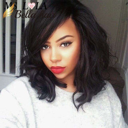Wholesale Short Hair Lace Wigs - Glueless Virgin Brazilian Wavy Short Cut Human Hair Lace Front Wigs Full Lace Wigs For Black Women Bob Style wig Free shipping BellaHair