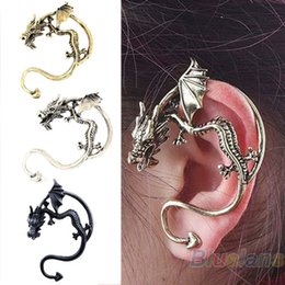 Wholesale Temptation Dragon Ear Cuff - Retro Vintage Black Silver Bronze Punk Temptation Metal Dragon Bite Ear Cuff Clip Wrap 01A7