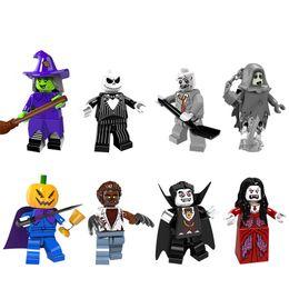 Wholesale Pumpkin Gifts - Building Blocks Minifigures Action Bricks Witch Jack Pumpkin King Werewolf Vampire Kids Halloween Gift DIY Toys 8pcs set PG8080